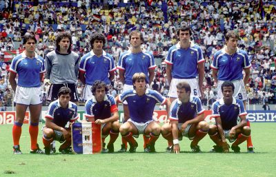 FOOT - COUPE DU MONDE 1986 - 1986 debout :amoros (manuel) bats (joel) ayache (william) battiston (patrick)  bossis (max)  fernandez (luis)  accroupis :giresse (alain) platini (michel) stopyra (yannick) bellone (bruno) tigana (jean)