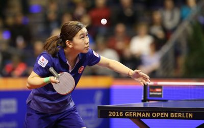 TENNIS DE TABLE - GERMAN OPEN - 2016 31.01.2016, Max Schmeling Halle, Berlin, GER, German Open 2016, im Bild Ho Ching Lee (HKG) bei der Angabe // during the table Tennis 2016 German Open at the Max Schmeling Halle in Berlin, Germany on 2016/01/31. EXPA Pictures © 2016, PhotoCredit: EXPA/ Eibner-Pressefoto/ Wuest *****ATTENTION - OUT of GER*****