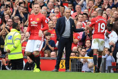 2016 - FOOT - PREMIER LEAGUE 24 September 2016 - Premier League - Manchester United v Leicester City - Jose Mourinho Manager of Manchester United looks on at Wayne Rooney as he replaces Marcus Rashford - Photo: Marc Atkins / Offside. EDITORIAL USE ONLY - any other use requires an additional license