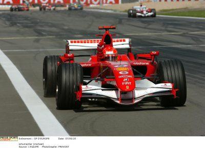 Championnat du Monde de Formule 1 2006. Gp d'Europe. Victoire de l'allemand Michal Schumacher devant l'espagnol Fernando Alonso et le brésilien Felipe Massa. schumacher (michael)