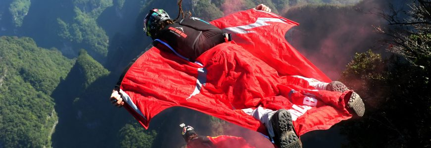 SPORTS EXTREMES - 2013 Oct 12, 2013; Zhangjiajie, CHINA; The qualifications for the second World Wingsuit League China Grand Prix went successfully on Saturday in Tianmen Mountain National Forest Park in Zhangjiajie. Hungarian wingsuit flyer Victor Kovats was dead during a trial jump as his parachute failed to deploy before landing on Tuesday.