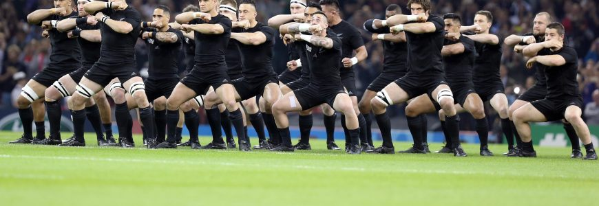 RUGBY - COUPE DU MONDE 2015 - 2015 The All Blacks perforn the Haka before Match 23 of the Rugby World Cup 2015 between New Zealand and Georgia - 02/10/2015 - Millennium Stadium, Cardiff *** Local Caption ***