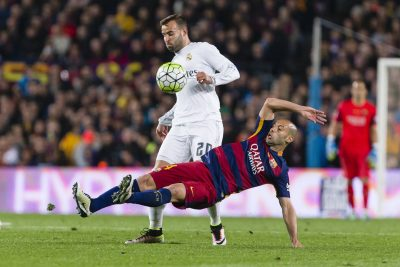 FOOT - LIGA - 2016 SPAIN - Apr,2th: Javier Alejandro Mascherano and Jese Rodriguez during the match between FC Barcelona vs Real Madrid, for the round 31 of the Liga BBVA, played at Camp Nou Stadium on 2th Apr 2016 in Barcelona, Spain. (Credit: Mikel Trigueros / Urbanandsport / Cordon Press) Cordon Press *** Local Caption ***