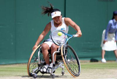 TENNIS - TOURNOI DE WIMBLEDON - GRAND CHELEM - 2016 7th July 2016 -  Wimbledon Tennis (Day 10) - Wheelchair Ladies Singles - Aniek Van Koot v Yui Kamiji You Kamiji (JPN) in action Photo: Charlotte Wilson