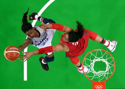 BASKET - JO 2016 - 2016 Aug 18, 2016; Rio de Janeiro, Brazil;  France point guard Olivia Epoupa (22) shoots the ball against USA forward Maya Moore (7) during the women's basketball semifinals in the Rio 2016 Olympic Games at Carioca Arena 1. Mandatory Credit: USA TODAY Sports
