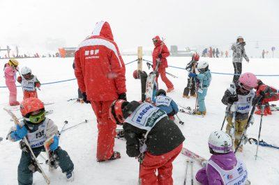 SKI ALPIN - MAGAZINE LES RESEAUX DU SPORT - 2013 Illustration sur les moniteurs de l'Ecole de Ski Francais (ESF) durant un cours de ski alpin pour enfants a l'Alpe d'Huez, le 30 mars 2013.