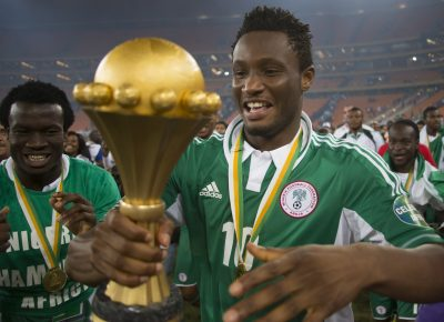 FOOT - COUPE D'AFRIQUE DES NATIONS - 2013 SOWETO, SOUTH AFRICA - FEBRUARY 10,  John Obi Mikel from Nigeria celebrates winning the 2013 Orange African Cup of Nations Final match between Nigeria and Burkina Faso from the National Stadium on Februay 10, 2013 in Soweto, South Africa Photo by Manus van Dyk / Gallo Images