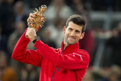 TENNIS - ATP MASTERS 1000 - 2016 08.05.2016, Caja Magica, Madrid, ESP, ATP Tour, Mutua Madrid Open, Finale, im Bild Serbian Novak Djokovic with the championship awards // during final of the Madrid Open of ATP World Tour at the Caja Magica in Madrid, Spain on 2016/05/08. EXPA Pictures © 2016, PhotoCredit: EXPA/ Alterphotos/ BorjaB.Hojas *****ATTENTION - OUT of ESP, SUI***** *** Local Caption ***   FRANCE ONLY