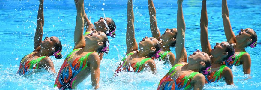 NATATION SYNCHRONISEE - JO RIO 2016 - 2016 Aug 19, 2016; Rio de Janeiro, Brazil; Team Italy performs in the synchronized swimming free routine at Maria Lenk Aquatics Centre during the Rio 2016 Summer Olympic Games. Mandatory Credit: Christopher Hanewinckel-USA TODAY Sports