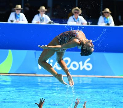 NATATION SYNCHRONISEE - JO RIO 2016 - 2016 Aug 19, 2016; Rio de Janeiro, Brazil; Team Egypt performs in the synchronized swimming free routine at Maria Lenk Aquatics Centre during the Rio 2016 Summer Olympic Games. Mandatory Credit: Christopher Hanewinckel-USA TODAY Sports