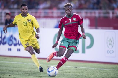 FOOT - QUALIFICATIONS - CAN 2017 - 2016 (L-R) Leonildo Soares G de Ceita of Sao Tome e Principe, Hamza Mendyl of Moroccoduring the Africa Cup of Nations match between Morocco and Sao Tome E Principe at September 4, 2016 at the Complexe Sportif Prince Moulay Abdellah in Rabat, Morocco.
