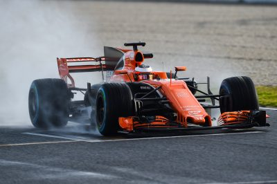 AUTOMOBILE - F1 - 2017 02.03.2017, Circuit de Catalunya, Barcelona, ESP, FIA, Formel 1, Testfahrten, Barcelona, im Bild Stoffel Vandoorne (McLaren Honda) mit seinem Auto auf der nassen Strecke // during the FIA Formula One Testdrives at the Circuit de Catalunya in Barcelona, Spain on 2017/03/02. EXPA Pictures © 2017, PhotoCredit: EXPA/ Eibner-Pressefoto/ Andre *****ATTENTION - OUT of GER***** *** Local Caption ***   FRANCE ONLY