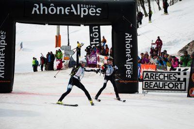 SKI ALPINISME - PIERRA MENTA - 2012 arrivee Laetitia Roux (droite) / Severine Pont Combe (2e au general