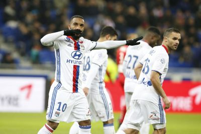 FOOT - L1 - 2017 lacazette (alexandre) *** Local Caption ***   joie du 3-0 L'(09/02/2017) photo une regionale
