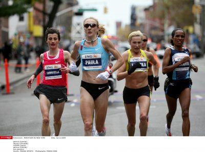 ATHLETISME - MARATHON DE NEW YORK - 3 ème du marathon - petrova (ludmila) - daunay (christelle) - radcliffe (paula) - petrova (ludmila) - tulu (derartu)