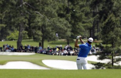 GOLF - PGA - MASTERS - 2016 Apr 10, 2016; Augusta, GA, USA; Jordan Spieth hits his second shot on the 2nd hole during the final round of the 2016 The Masters golf tournament at Augusta National Golf Club. Mandatory Credit: Rob Schumacher-USA TODAY Sports *** Local Caption ***