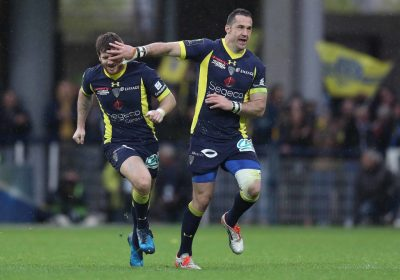 RUGBY - CHAMPIONS CUP - 2017 European Rugby Champions Cup Quarter-Final, Stade Marcel-Michelin, Clermont-Ferrand, France 2/4/2017 ASM Clermont Auvergne vs RC Toulon Clermont AuvergneÕs Camille Lopez celebrates his drop goal Mandatory Credit ©INPHO/Billy Stickland