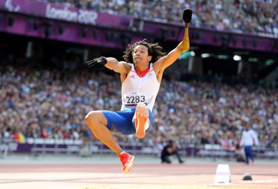 ATHLETISME - JEUX PARALYMPIQUES - 2012 Sep 3, 2012; London, United Kingdom; Arnaud Assoumani of France  wins the Silver medal in the Men's long jump F46 Final during the London 2012 Paralympic Games at Olympic Stadium. Mandatory Credit: Paul Cunningham-US PRESSWIRE *** Local Caption ***