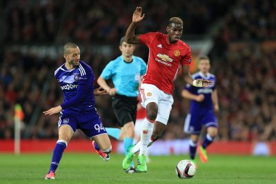 FOOT - LIGUE EUROPA - 2017 20th April 2017 - UEFA Europa League - Quarter Final - Manchester United v Anderlecht - Paul Pogba of Man Utd battles with Sofiane Hanni of Anderlecht - Photo: Simon Stacpoole / Offside. EDITORIAL USE ONLY - any other use requires an additional license