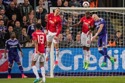 FOOT - LIGUE EUROPA - 2017 (L-R) Frank Acheampong of RSC Anderlecht, Marcus Rashford of Manchester United, Zlatan Ibrahimovic of Manchester United, Paul Pogba of Manchester United, Bram Nuytinck of RSC Anderlechtduring the UEFA Europa League quarter final match between RSC Anderlecht and Manchester United on April 13, 2017 at Constant Vanden Stock Stadium in Brussels, Belgium.