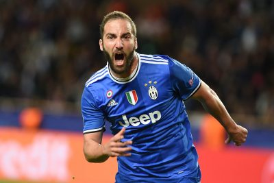 FOOT - LIGUE DES CHAMPIONS - 2017 Foto IPP/Massimo Rana Montecarlo 03-05-2017 Calcio Champions League 2016/2017 Monaco-Juventus nella foto esulta gonzalo higuain dopo il gol  Italy Photo Press - World Copyright