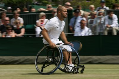 TENNIS - GRAND CHELEM - TOURNOI DE WIMBLEDON 2011 - 02/07/2011 - Wimbledon (Day 12) - Stefan Olsson in action in the Men's Wheelchair Doubles - Photo: Simon Stacpoole / Offside.