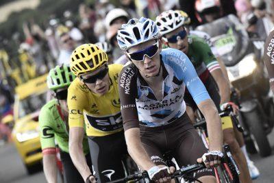 CYCLISME - TOUR DE FRANCE 2017 - 2017 16 July 2017 104th Tour de France Stage 15 : Laissac-Severac l'Eglise - Le Puy-en-Velay BARDET Romain (FRA) ag2r - La Mondiale FROOME Christopher (GBR) Sky, Maillot Jaune URAN Rigoberto (COL) Cannondale - Drapac, at Col de Peyra Taillade Photo : Yuzuru SUNADA