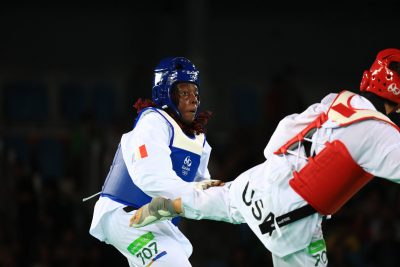 TAEKWONDO - JO 2016 - 2016 epangue (gwladys) - (fra) - galloway (jackie) - (usa) - *** Local Caption ***   finale pour le bronze finale pour la 3e place