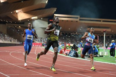 ATHLETISME - MEETING DE MONACO - LIGUE DE DIAMANT - 2017 simbine (akani) - (afs) - bolt (usain) - (jam) - ujah (chijindu) - (gbr) - *** Local Caption ***   dernier 100 m de Bolt en meeting