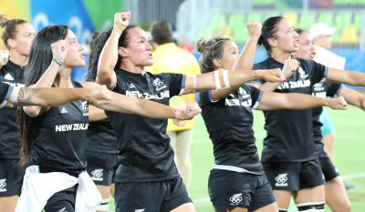 RUGBY A 7 - JO RIO 2016 - 2016 Aug 8, 2016; Rio de Janeiro, Brazil; Team New Zealand does the haka during a rugby sevens match between Australia and New Zealand at Deodoro Stadium in the Rio 2016 Summer Olympic Games. Mandatory Credit: Geoff Burke-USA TODAY Sports