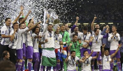 FOOT - LIGUE DES CHAMPIONS  - 2017 03.06.2017, Principality Stadium, Cardiff, ENG, UEFA CL, Juventus Turin vs Real Madrid, Finale, im Bild Real Madrid celebrate winning // Real Madrid celebrate winning during the UEFA Champions League Final match between Juventus Turin and Real Madrid at the Principality Stadium in Cardiff, Wales on 2017/06/03. EXPA Pictures © 2017, PhotoCredit: EXPA/ Focus Images/ Mike Griffiths *****ATTENTION - for AUT, GER, FRA, ITA, SUI, POL, CRO, SLO only***** ONLY AT, DE, FR, IT, CH, PL, HR, SI