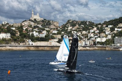 VOILE - MOD 70 - 2012 MARSEILLE,FRANCE, SEPTEMBER 29TH 2012 : Spindrift racing (MOD70) skippered by Yann Guichard from France, during the Marseille City Races of the MOD70 European Tour.
