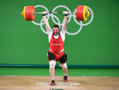HALTEROPHILIE - JO RIO 2016 - 2016 Aug 16, 2016; Rio de Janeiro, Brazil;  Lasha Talakhadze (GEO) during the men's 105kg weightlifting competition in the Rio 2016 Summer Olympic Games at Rio Centro - Pavilion 2. Mandatory Credit: John David Mercer-USA TODAY Sports