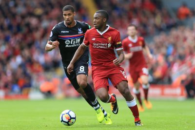 FOOT - PREMIER LEAGUE - 2017 19th August 2017 - Premier League - Liverpool v Crystal Palace - Daniel Sturridge of Liverpool battles with Ruben Loftus-Cheek of Palace - Photo: Simon Stacpoole / Offside. EDITORIAL USE ONLY - any other use requires an additional license from Football DataCo - www.football-dataco.com